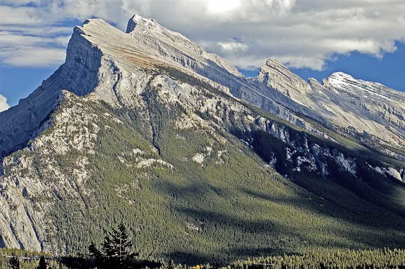 The imposing west side of Mt Rundle in Banff
